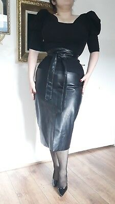 Black Leather Faux Top Shop High Waisted Pencil Skirt Wiggle high waisted goth