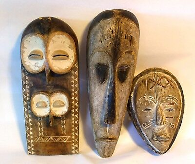 100% Authentic Antique Large Wood African Tribal Bembe Congo Mask LOT Collection