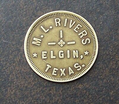 ELGIN TEXAS / M.L. RIVERS / 25c / ANTIQUE TRADE TOKEN