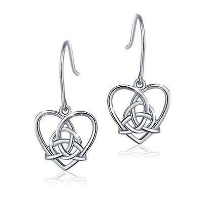 925 Sterling Silver Good Luck Irish Celtic Knot Triangle Vintage Love Heart Earr