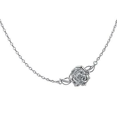 "S925 Sterling Silver Jewelry Sideways Camellia Flower Choker Necklace 15+3"" for"