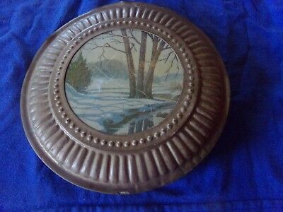 """Vintage Round Chimney Flu Stove Pipe Cover Picture Of a Winter Scene 8"""""""