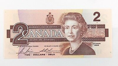 1986 Canada 2 Two Dollar CBK Prefix Canadian Uncirculated Currency Banknote I432