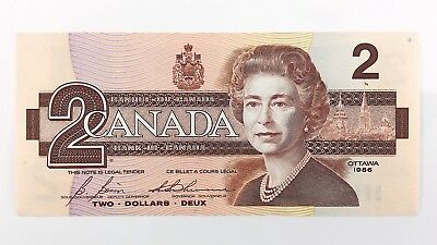 1986 Canada 2 Two Dollar CBJ Prefix Canadian Circulated Currency Banknote I433