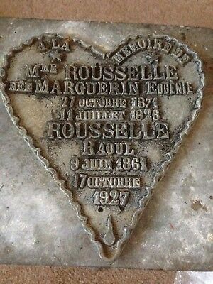 Vintage Rare French Metal Grave Marker.Cemetery Marker. Funeral Plaque 1926/1927