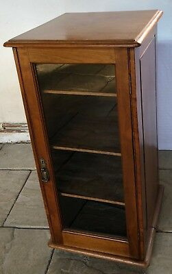 ANTIQUE LATE VICTORIAN WALNUT MUSIC CABINET WITH GLAZED DOOR & 3 shelves