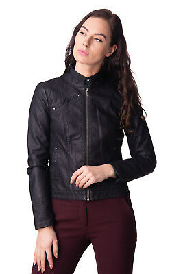 VERO MODA Jacket Size S Black PU Leather Fully Lined Full Zip Stand-Up Collar