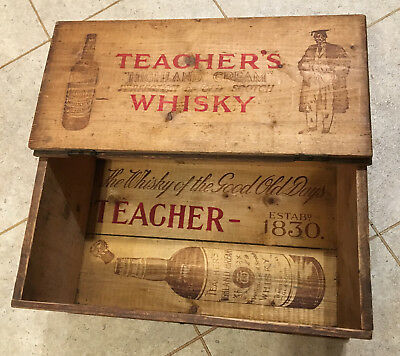 Vintage Teachers Scotch Whisky wooden 4 bottle large box case hinged lid