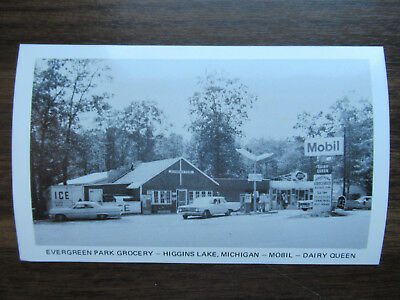 1960's Dairy Queen Postcard Evergreen Park Grocery Higgins Lake MI Mobil Station