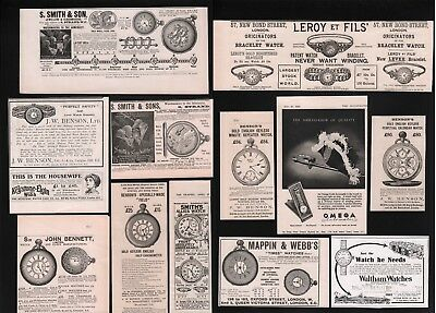 Old Antique Advert Selection Advertising Clocks Watches Time Pieces 1886 / 1950