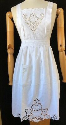 Vintage White Cotton Apron Lease Embellishments Crisscross Apron Ties