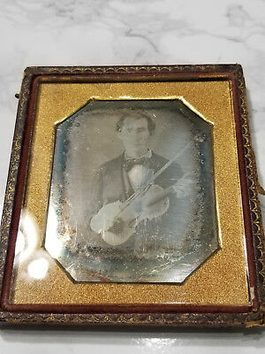 Antique Sixth Plate Daguerreotype Photo of Violinist: Musician