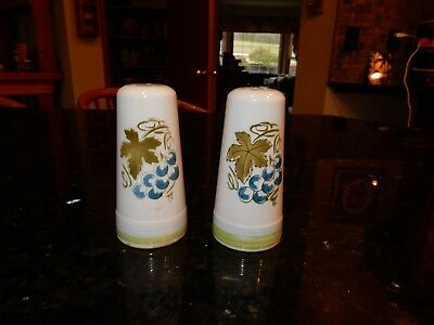 Vintage Harmony House Blue Grapes Ironstone 4265 Salt & Pepper Shaker Japan EUC