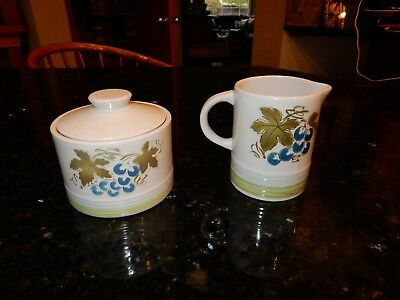 Vintage Harmony House Blue Grapes Ironstone 4265 Cream & Sugar Server Japan EUC