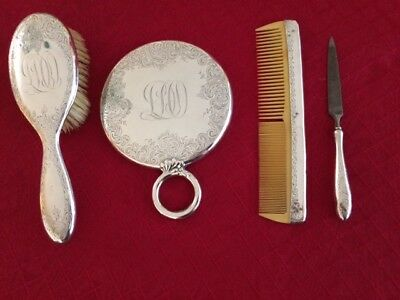 Sterling Silver Gorham Hairbrush and Mirror Set