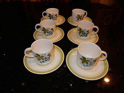 Vintage Harmony House Blue Grapes Ironstone 4265 Coffee Cups & Saucers Japan EUC