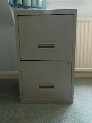 2 Drawer Metal Filing Cabinet A4 with One Lockable Drawer Complete with Files