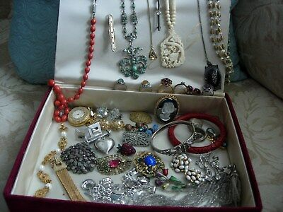 ANTIQUE & VINTAGE JEWELRY LOT STERLING SILVER ART DECO VICTORIAN in LG GODEY BOX
