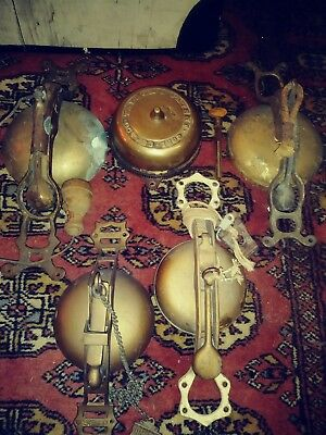 Antique Brass Trolley bells and door bell.Lot of 5