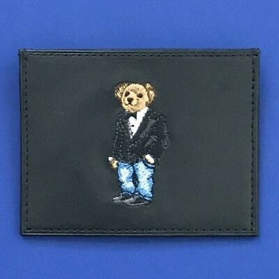 NIB Polo Ralph Lauren Black Leather Card Case Wallet - Bear w/Bow Tie & Jacket