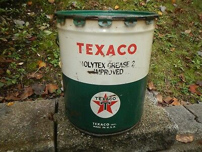 Vintage TEXACO Gas Station 5 Gallon 35 Pound Grease Can w/Cover