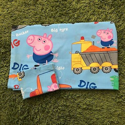 George Pig Toddler Bed Duvet Cover and Pillow Set with Diggers!