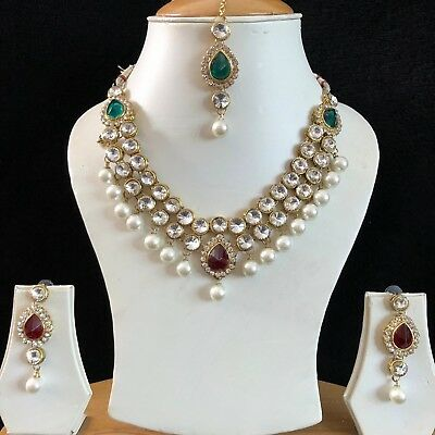 Green Red Gold Indian Costume Jewellery Necklace Earrings Crystal Crystal Set N
