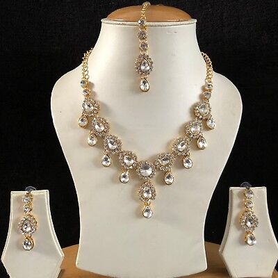 Clear Gold Kundan Indian Costume Jewellery Necklace Earrings Crystal Set New 063