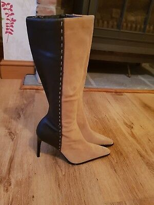 Ladies sexy boots size 6 - new .  Brown and beige 2 tone .  Pointy & high