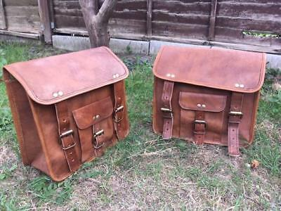Motorcycle Saddlebags Pouch Brown Leather Two Side Saddle Panniers 2 Bags New