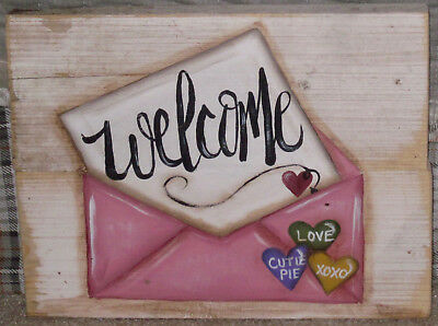 *~*primitive*~* Hp Folk Art Valentine Envelope *~* Welcome *~* Reclaimed Wood