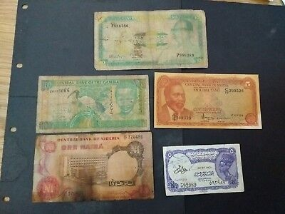 Africa 5 different banknotes