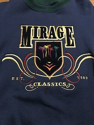 Vintage Las Vegas Mirage Casino Sweatshirt Adult Size L Gray Stitched Made USA