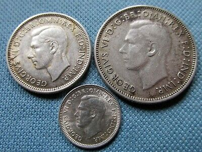 Lot of 3 Australia King George VI Silver Coins - 1942 Florin 3d 1943 Shilling