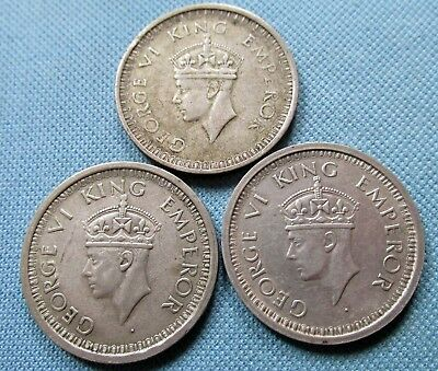 Lot of 3 British India King George VI Silver Coins - One Rupee 1942 1944 1945