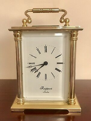 Antique Rapport London Brass/bevelled Glass Mechanical Skeleton Carriage Clock