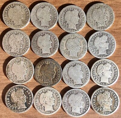 Cool Lot of 16 Different SILVER Low Grade Barber Dimes 1898 - 1916