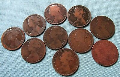 Lot 10 Great Britain Queen Victoria 1800s Bronze One Penny Old Coins 1861-1891