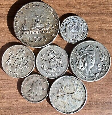 Cool Lot of 7 Different SILVER Post WWII World Coins 1946 - 1965