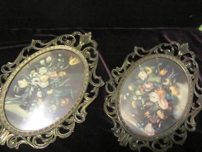 Pair Of10X6.5 Inch Metal Framed Florals With Convex Glass-Made In Italy-Vintage