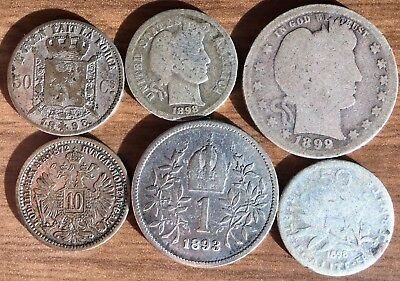 Cool Lot of 6 Different SILVER 1800's World Coins 1872 - 1899