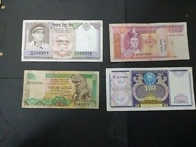 Asia 4 different banknotes