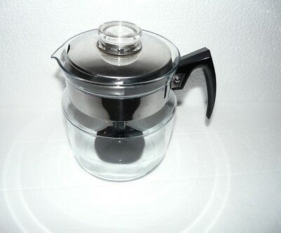 Vtg Pyrex Flameware 9 Cup Percolator Coffee Pot #8859-B Stainless Lid Complete