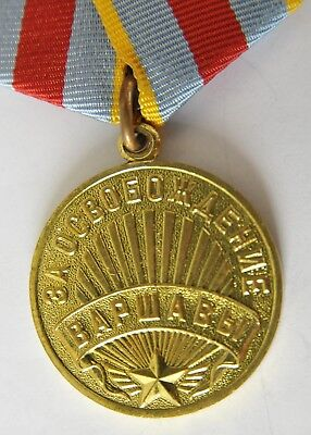 1945y RUSSIAN SOVIET MILITARY MEDAL WARSAW GERMANY PATRIOTIC WAR WWII ARMY NAVAL