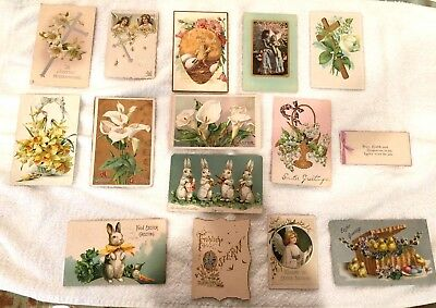antique vintage easter ephemera postcards-angels crosses chicks bunnies flowers