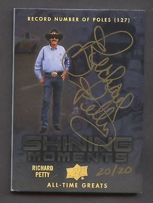Richard Petty Autograph #20/20 On-Card Auto Upper Deck All Time Greats NASCAR