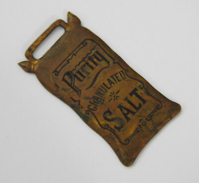 Antique Brass PURITY SALT Figural Watch Fob Old Vintage NY Food Advertising Item