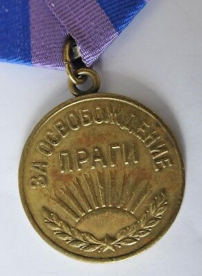 1945y RUSSIAN SOVIET MILITARY WWII MEDAL ORDER AWARD LIBERATION PRAGUE WAR GOLD