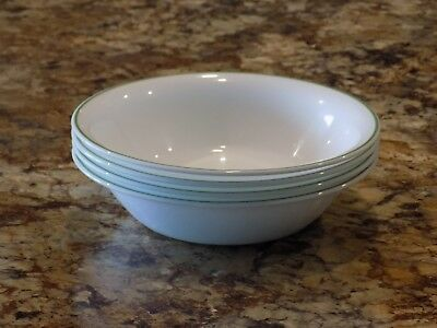"Corelle Soup Cereal Salad Bowl 7 1/8"" White with Green Stripe on Rim Set of 4"