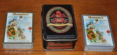 Budweiser Classic Playing Cards , 2 Sealed Decks in Tin